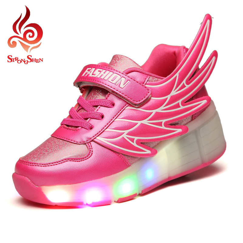 Super Star Kids Shoes with LED Lights Children Shoes with Wheels Kids Sneakers with Led Light Up for Boys Girls Blue Red<br><br>Aliexpress