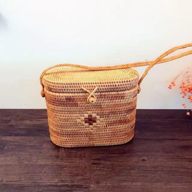 Popular Womens Bag Summer beach woven bag 2018 Hot Ins Vietnam Hand Made Woven Rattan Handbag Retro Round Bag <br>
