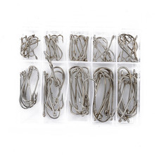 100 Pieces Sea Fly Fishing Hooks Tackle Set With Box 10 Size Fresh Water Jig Size 1 2 4 6 8 1/0 2/0 3/0 4/0