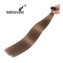 "MRSHAIR 8# Pre Bonded Hair Extensions U Tip 1g/Strand Chestnut Brown Non Remy Hair Straight Nail Tip Hair Extensions 16-24""(China)"