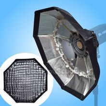 Studio 70cm SILVER Portable Beauty Dish Softbox with Honeycomb Grid Profoto Mount fr Strobe