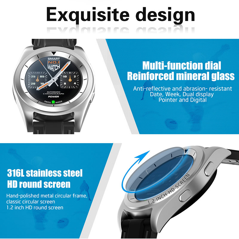 DOITOP Bluetooth Business Heart Rate Monitor Smart Watch Sport PSG Call SMS Reminder Smartwatch Men Wristwatch Metal Strip Watch