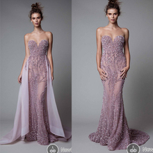 Arabic Evening Gowns Dresses Sweetheart Neckline Backless Detachable Train Mermaid Sleeveless Lavender Prom Dresses Crystal