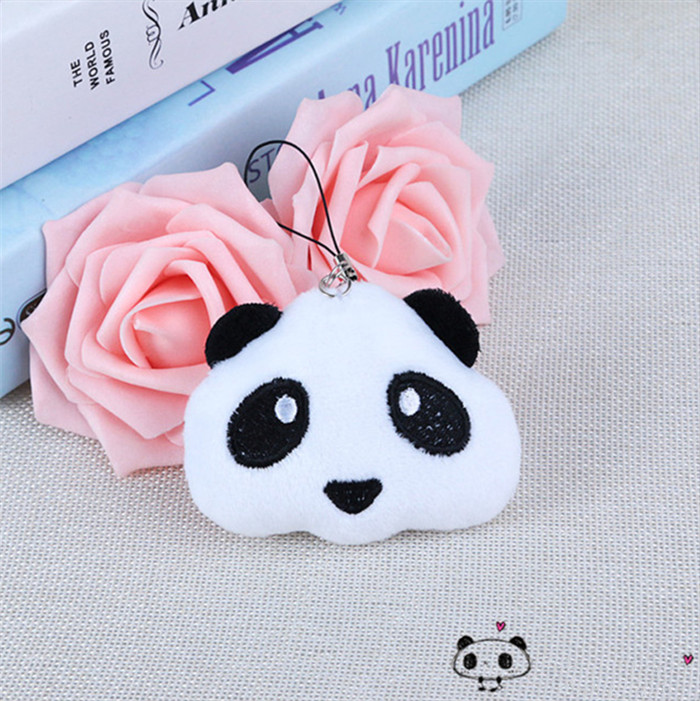Fashion Panda Emoji Plush Toys Key Chain Ring Pom Bear Keychain Woman Bag Charms Man Car Keyring Wedding Party Trinket Jewelry (6)