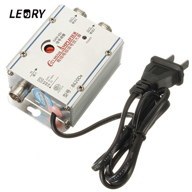 LEORY 2 Way CATV Cable TV Signal Amplifier 80 x 55 x 30MM AMP Antenna Booster Splitter Set Broadband(China (Mainland))