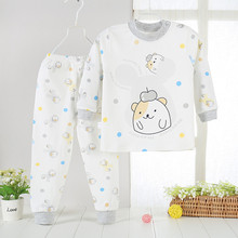 Pijamas Kids Pijama Cotton set pyjamas kids Baby boy girl printing Pajamas tshirt+pants clothing sets sleepwear shoulder opening