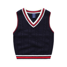 3-10y Children knitted sweater vest 2017 autumn cotton kids clothes v-neck casual college style boys & girls sweaters waistcoat(China)