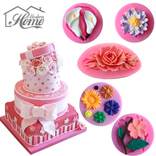 Flowers Shape Cake Fondant Mold Jelly Sugar 3D Silicone Mould For Cake Decorating Baking Kithchen Tool Candle Jewelry Molds