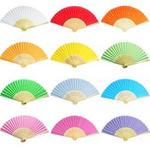 10pcs Chinese Folding Hand Held Bamboo Paper Fans Pocket Fan Background Decorations Wedding Birthday Baby Shower Party Decor