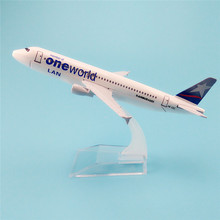 16cm Metal Plane Model Chile Air LAN One World Airways Airbus 320 A320 HC-CLC Airlines Airplane Model w Stand Aircraft  Gift