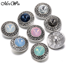 10pcs/lot New Navy Blue Rhinestone 18MM Metal Snap Jewelry With Alloy Buttons Fit Vintage Snap Bracelet Bangles