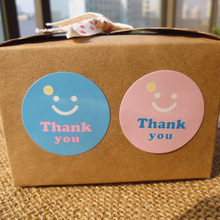 "100PCS Cute Smile ""Thank You"" Gift Decor Stickers,Bakery Cookie Packaging Bag Lamination Paper Seal Labels"
