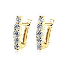 Yellow And White Color Stud Earrings Round Fashion Jewelry Zircon Rectangle arrings For Women Eh123