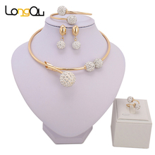Simple Crystal ball Bridal Jewelry Sets Dubai Gold Color Plated fashion Wedding Jewelry Necklace Bracelet earrings ring Sets(China)