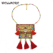 wellmore 2017 Colorful Bohemian Tassel Statement Necklace Tribal Ethnic Jewelry(China)