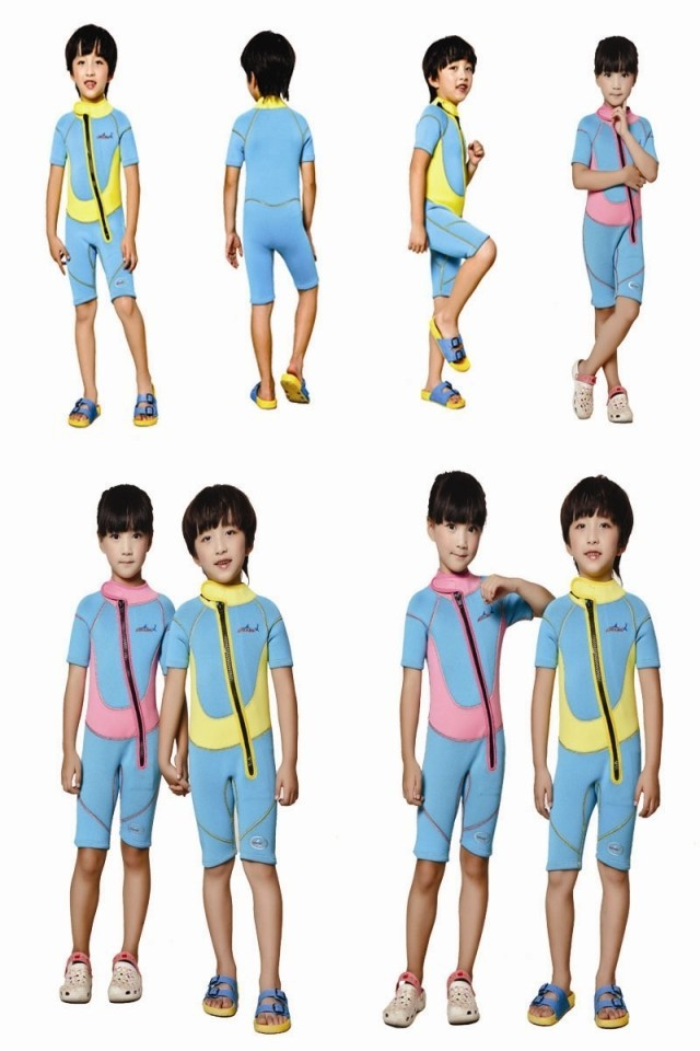 WDS-8002-1 Children Wetsuit 2.5mm Neoprene Thick Swimsuit for Winter Autumn Spring Shorty Swimwear