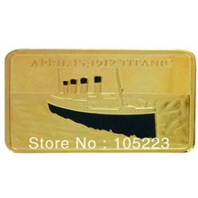 Factory Price!Free shipping+wholesale 100pcs/lot Copper with Gold-Plated Titanic Ship Boat Bullion Bar