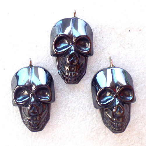 (3 pieces/lot) Wholesale Natural Carved Hematite Skull Pendant Bead 38x21x8mm Free Shipping Fashion Jewelry Z4848(China)