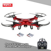 Syma X5C Drone 2.4GHz 4CH 6-Axis Gyro RC Helicopters Quadcopter 2.0MP HD Camera Drone Dron with Extra Battery zumbido Toys(China)