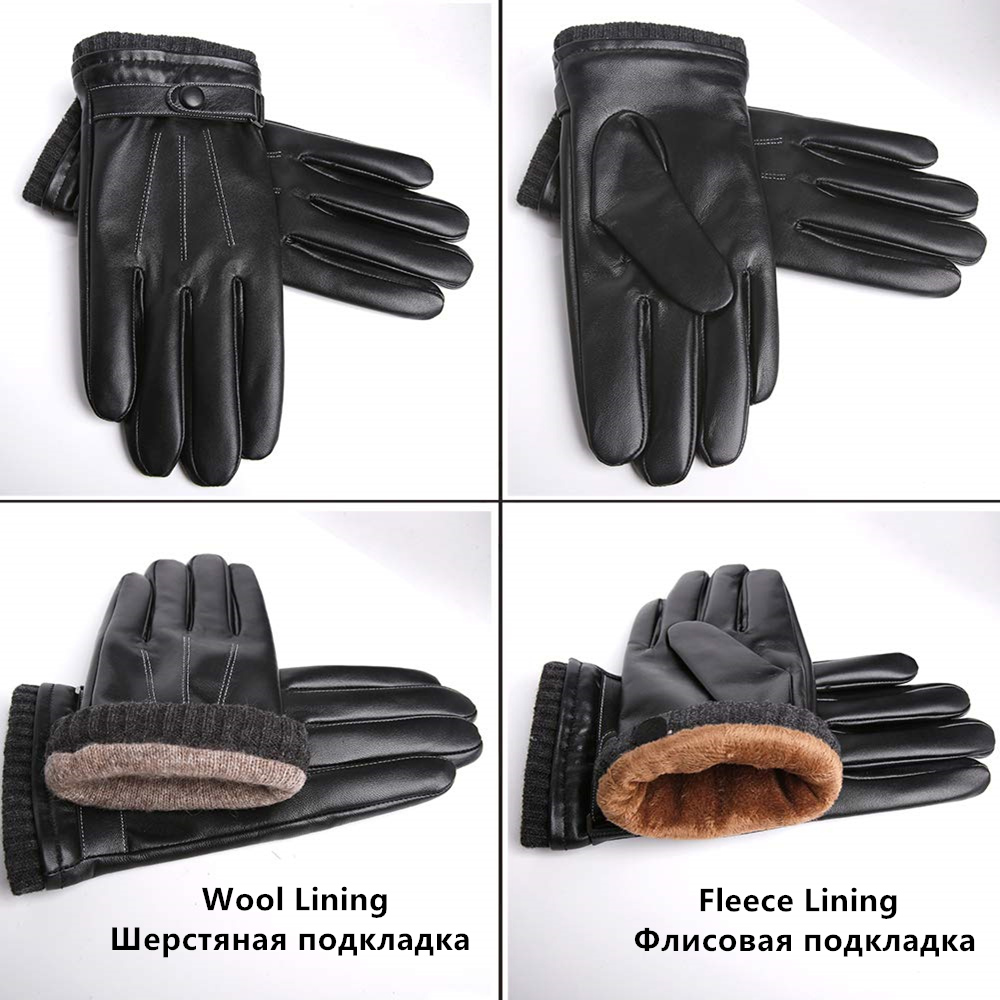 GOURS Men's Genuine Leather Winter Gloves Black Real Sheepskin Touch Screen Driving Gloves with Wool Knit Cuff 2019 New GSM057