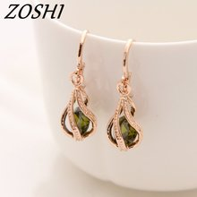 ZOSHI Fashion Gold Color Earrings for Women Long Drop Earing Green Crystal CZ Zircon Statement Wedding Wholesale Jewelry