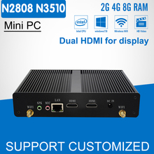 Fanless Mini PC Office Computer Celeron N2808 Pentium N3510 Quad Core 2*HDMI Media Player Windows 10 Mini Desktop HTPC Display(China)