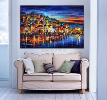 Palette Knife Painting Riverside Town Charming Blue Painting Printed on Canvas for Home Hotel Wall Art Decor