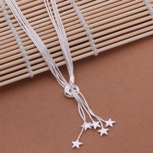 925 Star Pendant Long Necklace Elegant Silver Jewelry For Ladies Mulit Chain Necklace Wedding Evening Party AN440(China)
