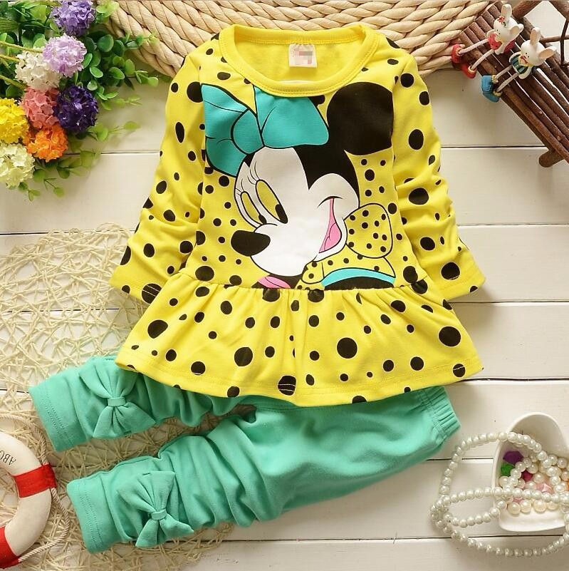 Fashion spring girls cartoon mickey dresses ruffle tops + girls pant clothing sets<br><br>Aliexpress