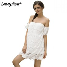 Buy Loneyshow 2018 New Style Summer Women White Lace Stitching Dress Shoulder Strapless Sexy Dress Slash Neck Mini Dresses for $9.27 in AliExpress store