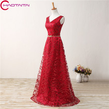Bridesmaide Dresses Cheap Top Online High Quality V Neck Sexy Backless Lace with Ribbons Floor-length Appliqued Red Color