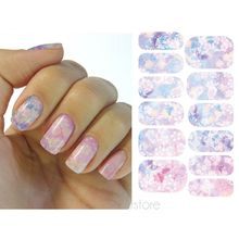 12 Pcs/Sheet Water Transfer Nails Sticker Romantic Gray And Purple Flowers Design Butterfly Nails Foil Sticker Decor Decals