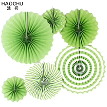 HAOCHU 6Pcs/lot Handcraft Paper Fan Birthday Party Supplies DIY Folding Fan Flower for Baby Shower Wedding Backdrops Home Decor(China)