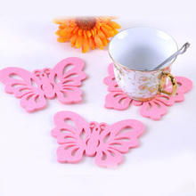 12*9cm Pink Butterfly Felt Cloth Cup Pad Fashion Party Cup Coaster Table Placemat Home Decor 50pcs/lot SH059