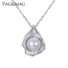 PAG&MAG Charm Shell Design Pearl Jewelry Pearl Necklace Pendant 925 Sterling SilverJewelry Fashion Necklaces for Women 2017(China)