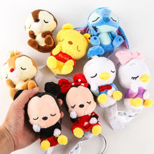 Disney 12cm Mickey Minnie Mouse Plush Toys Doll Winnie Bear Squirrel Bag Ornament Keychain Chip Dale Pendant Toys gift for kids(China)