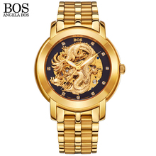 ANGELA BOS Chinese Dragon 3D Carving Gold Skeleton Mechanical Automatic Watch Men Steel Luminous Famous Brand Men Wrist Watches