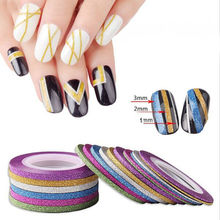 6Pc/Set DIY Pro Different Colors Matte Nail Striping Tape Line Nail Art Adhesive Decal Decoration Size 1mm/2mm/3mm(China)