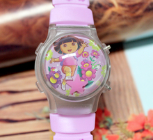 Hot Sale 1PC Cute Dora Explorer Girl's Waterball LED Watches With Flashing Light Children Cartoon Character Kids Digital Watches