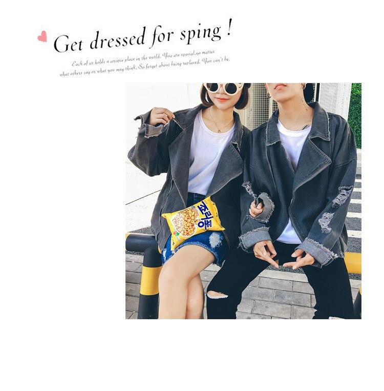 Envmenst 2017 Fashion Men/Women Denim Jackets High Quality Autumn Loose Hole Coat Hip Hop Casual Denim Jacket Coats
