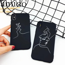 Fashion Abstract Line Face Soft Phone Cases For iphone 7 X Case Cute Cartoon Art Line cover For iphone7 6 6S 8 PLus Comics Coque(China)