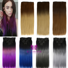 60cm 16Clips Colorful Women Synthetic Straight Hairpiece Ombre Clip In Hair Extensions for Beauty Girl Fashion Accessories B40