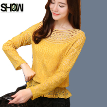 Cute Sweet Peplum Tops New Korean Design Women Fashion Long Sleeve Basic Shirts Hollow Out Crochet White Lace Tops Yellow Blouse(China)
