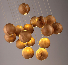 Nordic Designers  Wood Lamps Modern wood pendant light creative simple pendant lamp restaurant wood ball lamp light