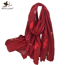 Marte&Joven Elegant Musical Note Embroidery Women Solid Color Scarf Pashmina Ladies Large Size Fashionable Warm Shawls Wraps(China)