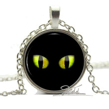 Yellow Black Eyes Cat Necklace Pendant - Halloween Charm Fancy Dress Costume Gift Trendy Women jewelry New Animal jewelry Woman