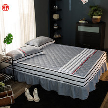 Winter Sheet&pillowcase set 3pcs/set cotton quilted bed skirt+2 pillowcase grey stripe Bed cover cotton pad thicken dust ruffle(China)