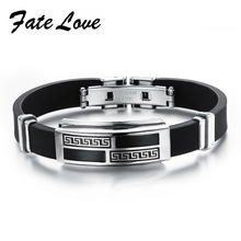 Fate Love New Sporty Stainless Steel Black Silicone Men's Bracelets With Great Wall Pattern Adjustable Best Gift Jewelry FL930