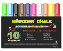 Newdoer 10 Color Liquid Chalk Markers - Bright Neon Liquid Chalk Premium Artist Quality Marker Pen Set - Child Friendly(China)