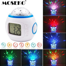 MOSEKO Home Decor Music Starry Star Sky Digital Clock Led Projection Projector Alarm Clock Calendar Night Light Color Changing(China)